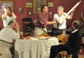 "Hilarious moment from the Moon Theatre Copmpany production of ""You Can't Take it With You"". (Photo Credit- Berthoud Recorder, 2010)"